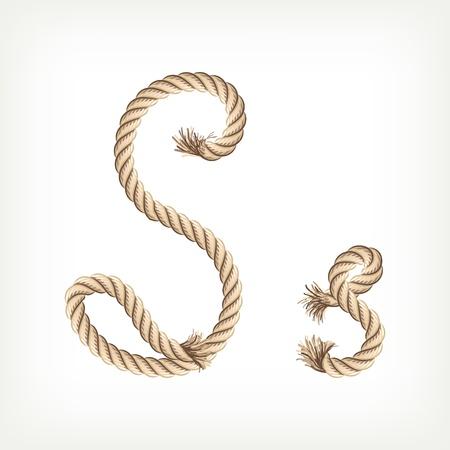 Rope alphabet. Letter S Vector
