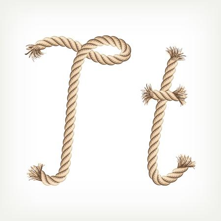 Rope alphabet. Letter T Vector