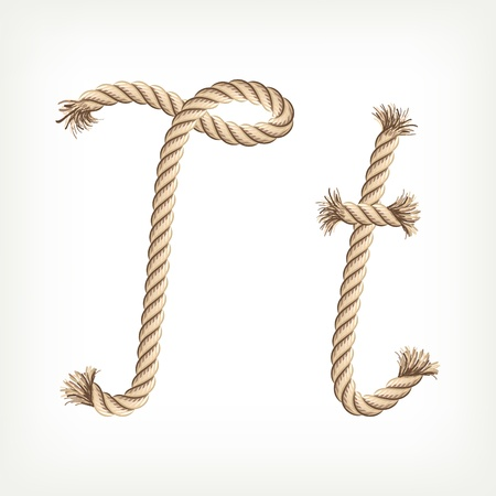 rope knot: Rope alphabet. Letter T