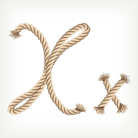 v alphabet: Rope alphabet. Letter X Illustration