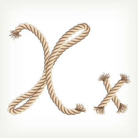 the noose: Rope alphabet. Letter X Illustration