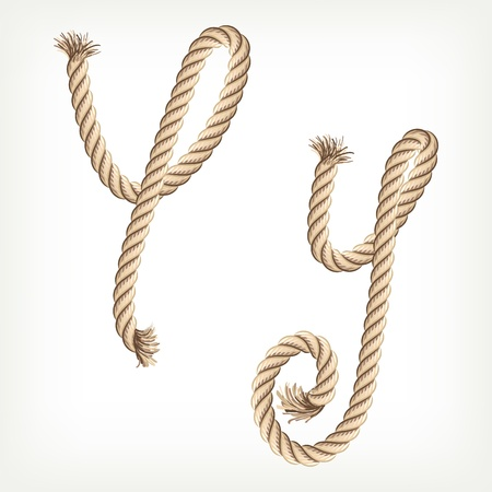 cotton thread: Rope alphabet. Letter Y Illustration