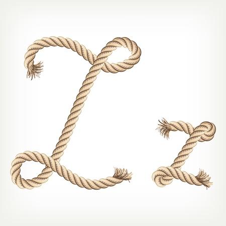 Rope alphabet. Letter Z Vector