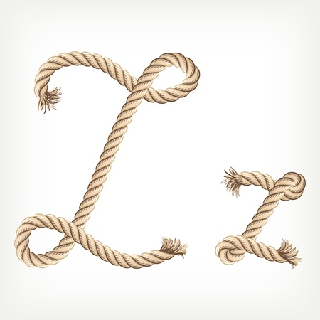 natural rope: Rope alphabet. Letter Z