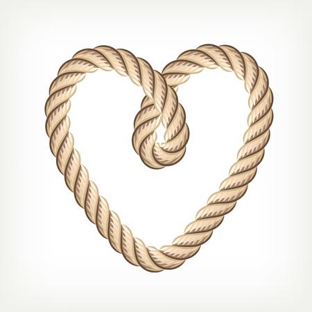 結び目: ロープの心  イラスト・ベクター素材