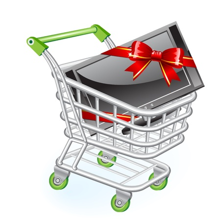 shoppingtrolley: Shopping cart with new widescreen monitor or tv with red bow Illustration