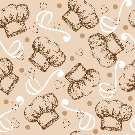 Cooking seamless pattern with chef hat Vector