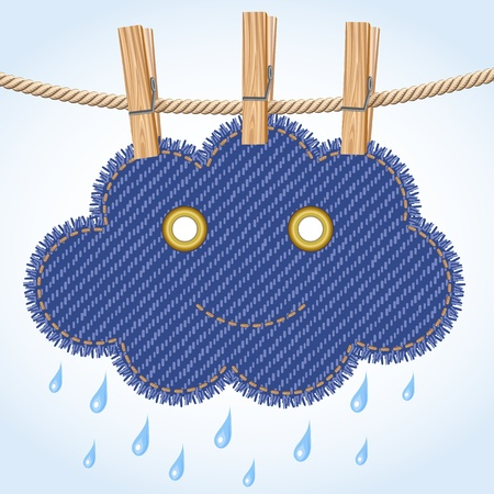 rainy season: Rain cloud on a clothesline Illustration