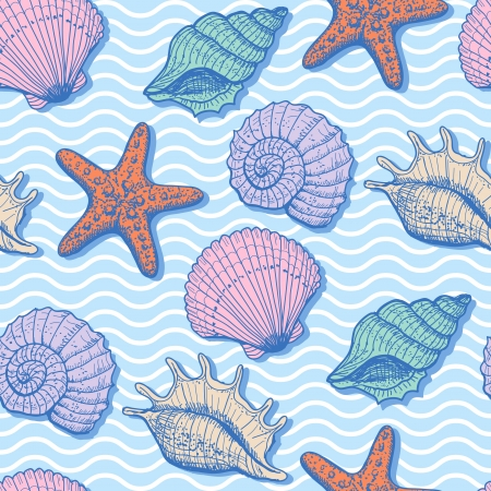 Sea seamless pattern. Original hand drawn illustration in vintage style Vector