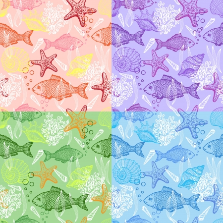 Set of sea hand drawn seamless pattern Vector