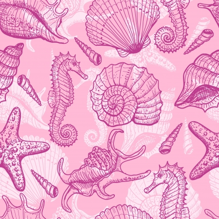 caballo de mar: Sea mano dibujado patrón transparente
