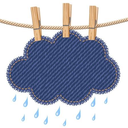 rainy sky: Lluvia nubes en un tendedero Vectores