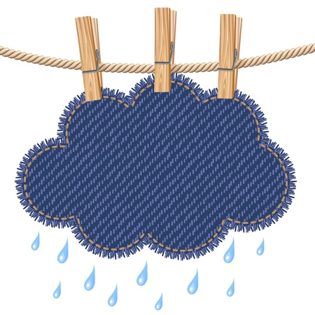 clothes hanging: Rain cloud on a clothesline Illustration