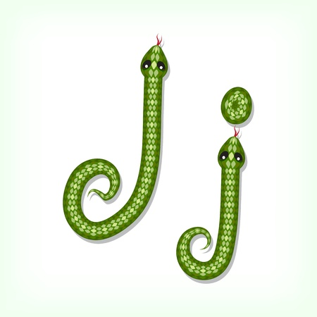 Font made from green snake. Letter J Vector