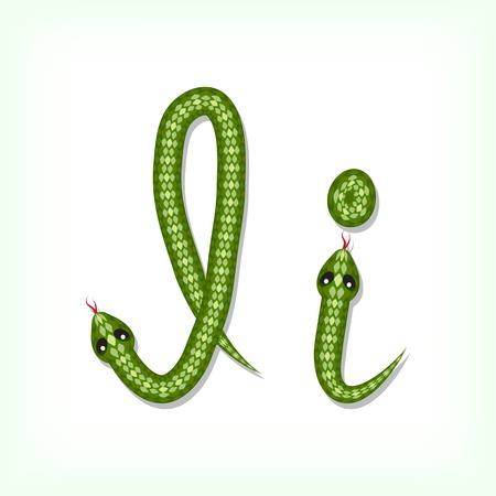 Font made from green snake. Letter I Stock Vector - 14935817