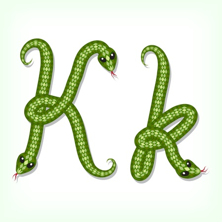 Font made from green snake. Letter K Vector