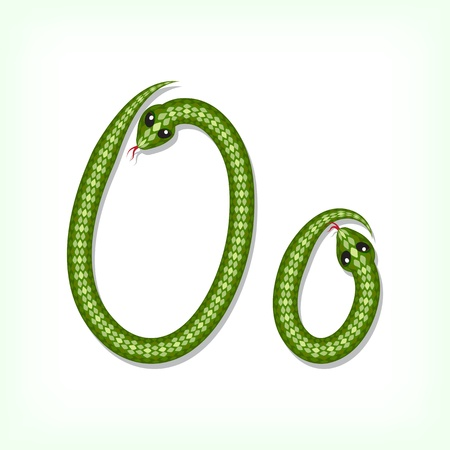 Font made from green snake. Letter O Vector