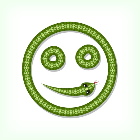 Font made from green snake. Smiley symbol Stock Vector - 14935889