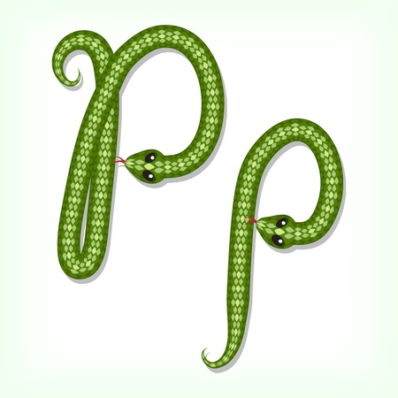 Font made from green snake. Letter P Vector
