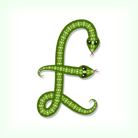 Font made from green snake. Pound symbol Vector