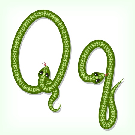 Font made from green snake. Letter Q Vector