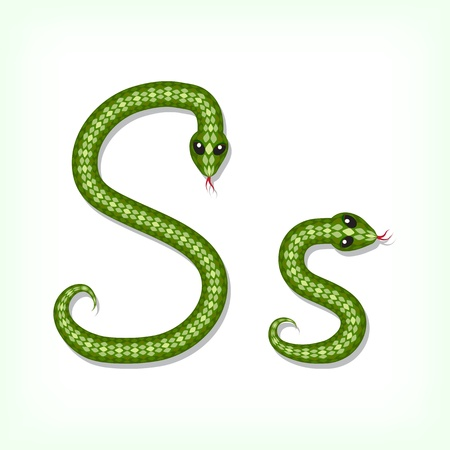 Font made from green snake. Letter S Vector