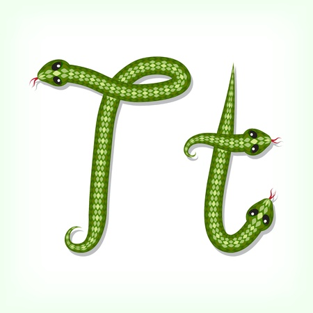 Font made from green snake. Letter T Vector
