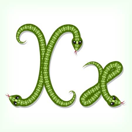 Font made from green snake. Letter X Vector