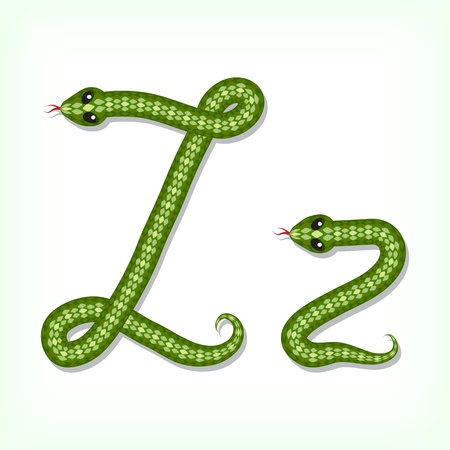 Font made from green snake. Letter Z Vector