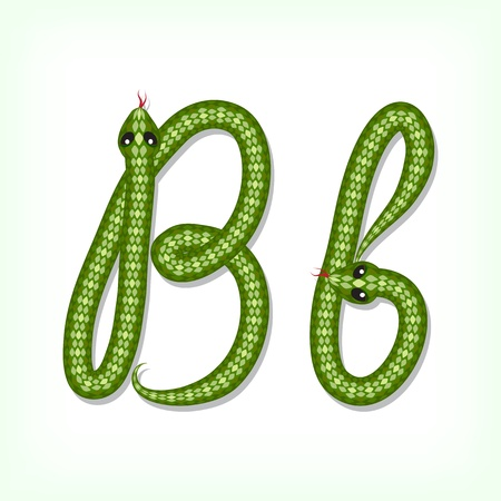 Font made from green snake. Letter B Stock Vector - 14935861