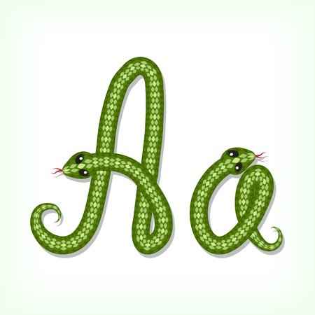 Font made from green snake. Letter A Vector