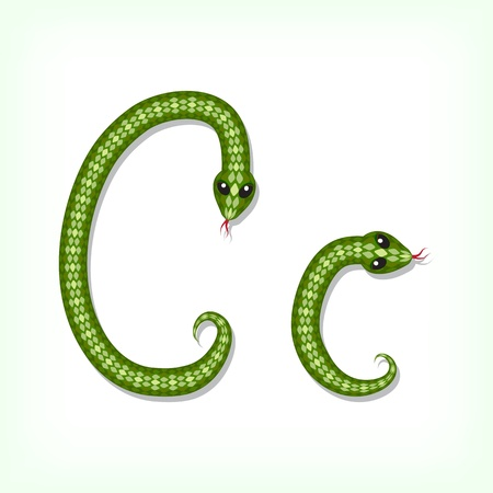 Font made from green snake. Letter C Vector