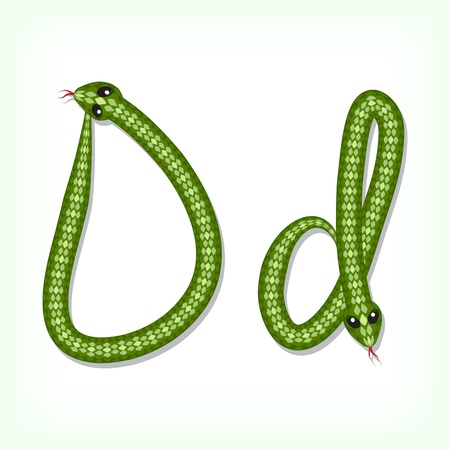 Font made from green snake. Letter D Vector