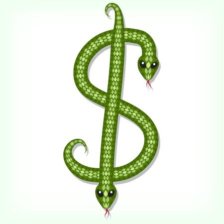 Font made from green snake. Dollar symbol Vector