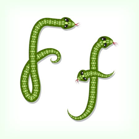 Font made from green snake. Letter F Vector