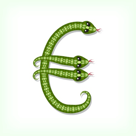 Font made from green snake. Euro symbol Vector