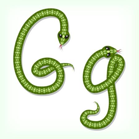 Font made from green snake. Letter G Stock Vector - 14935858