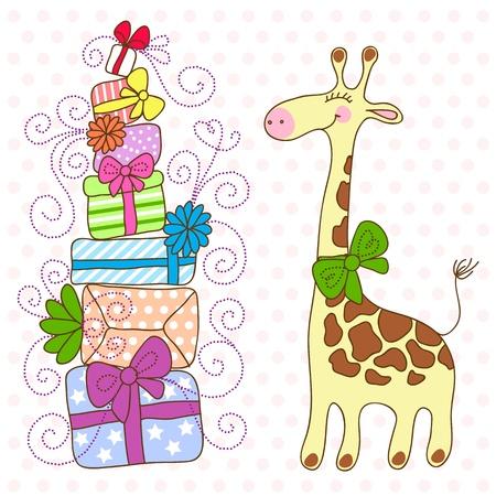 Jirafa linda con un montón de regalos