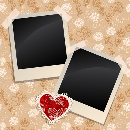 Blank photos on a  wall Vector