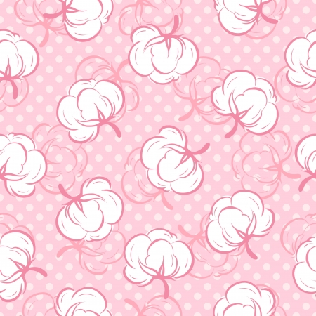 cotton fabric: Seamless pattern with cotton buds