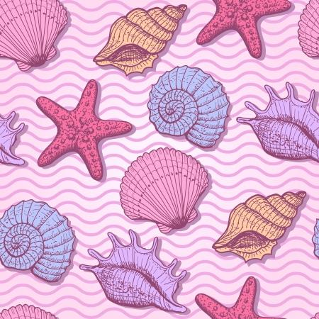 shell pattern: Sea hand drawn seamless pattern