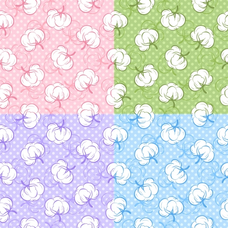 boll: Seamless patterns with cotton buds