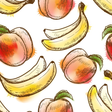 Seamless pattern with peach and banana Çizim