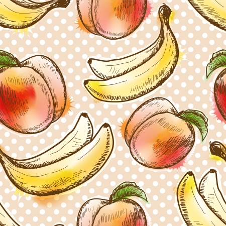 raw food: Seamless pattern with peach and banana Illustration