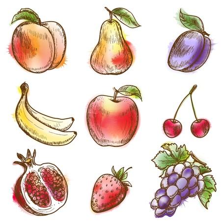 peach: Set of fruits