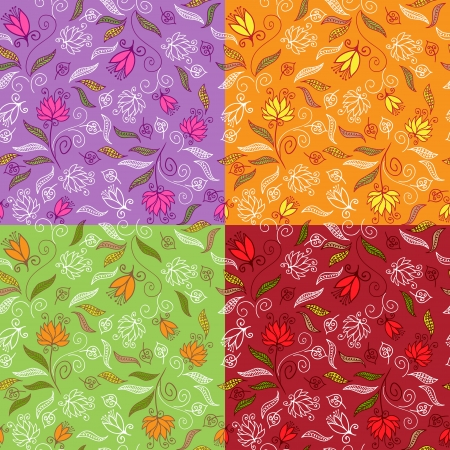 Set of cute floral seamless patterns Vector