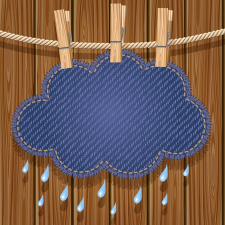 Rain cloud on a clothesline Stock Vector - 16427738