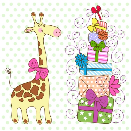 blue gift box: Cute Giraffe with a lot of gifts