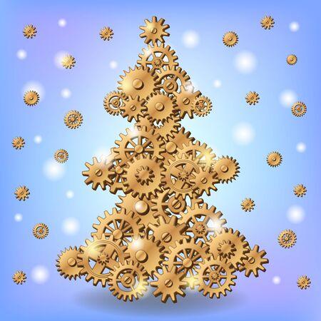 Mechanical Christmas tree Vector