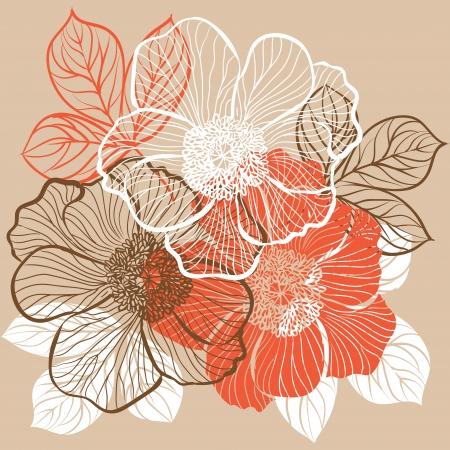 silhouette fleur: Floral background avec des fleurs de pivoine